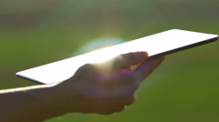 The woman hand (finger) work with touchscreen (ipad). Close up view Stock Footage