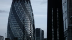 The middle of the Gherkin, London with clouds behind Stock Footage