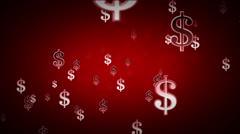 Dollar Symbols Red Zoom Stock Footage
