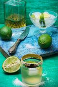 refreshing cocktail made of rum and lime with ice - stock photo