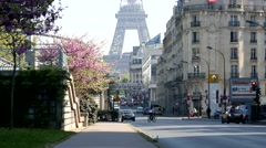 Buildings and streets of Paris and the Eiffel Tower Stock Footage
