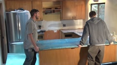 Installing Granite Counter Tops Stock Footage