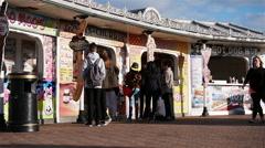 Brighton beach front fast food kiosks Stock Footage