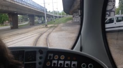Timelapse of travelling tram on tracks in Zagreb, Croatia Stock Footage