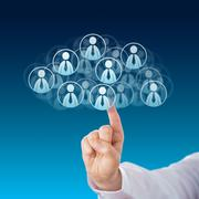 Finger Touching Human Resources In The Cloud - stock illustration