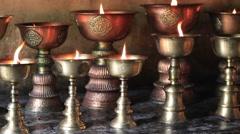 Video 1920x1080  Icon-lamps in tibetan gompa. Leh, Ladakh, India Stock Footage