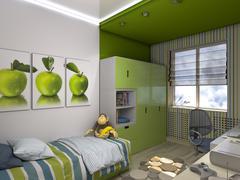 3d illustration of a green nursery for a boy Stock Illustration