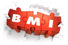 BMI - White Abbreviation on Red Puzzles - stock illustration