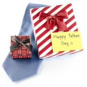 tie and two gift boxes with card tag write happy father day word - stock photo