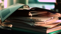 Stack of paper in the office Stock Footage