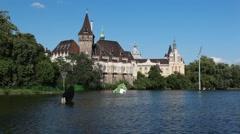 HUNGARY. BUDAPEST. JUNE 2011: Vajdahunyad Castle Stock Footage