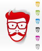 Realistic design element. face male Stock Illustration
