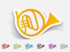 realistic design element. french horn - stock illustration