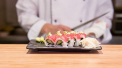 Selective focus on ready tasty sushi rolls - stock footage