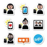 Man, woman taking selfie with mobile or cell phone icons set Stock Illustration