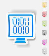 Realistic design element. computer screen with binary Stock Illustration