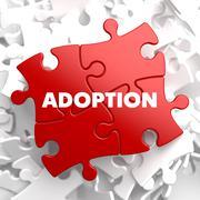 Adoption on Red Puzzles Stock Illustration