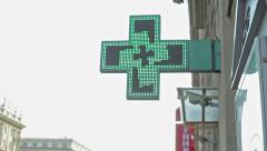 Illuminated Pharmacy Cross Sign Stock Footage