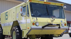 Airport emergency firetruck-fire truck unit vehicle Stock Footage