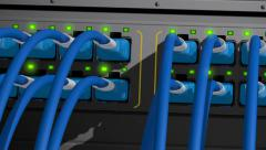 Network server switch with LED flashing Stock Footage