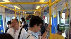 Bangkok city line train interrior Stock Footage