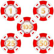 Set of gambling chips rated Stock Illustration