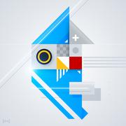 Abstract design element with glossy geometric shapes. Useful for digital comp Stock Illustration