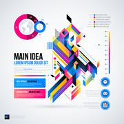 Abstract infographics layout with glossy geometric elements. Useful for prese - stock illustration