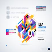 Abstract infographics layout with glossy geometric elements. Useful for prese Stock Illustration