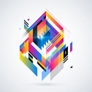 Abstract geometric element with colorful gradients and glowing lights. Corpor Stock Illustration