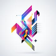 Stock Illustration of Abstract geometric element with colorful gradients and glowing lights. Corpor