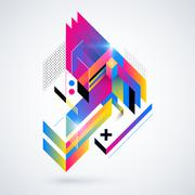 Abstract geometric element with colorful gradients and glowing lights. Corpor - stock illustration