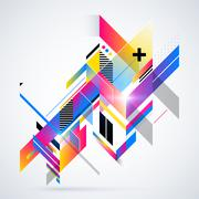 Abstract geometric element with colorful gradients and glowing lights. - stock illustration