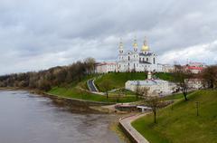 Holy Dormition Cathedral on Uspenskaya mountain above Western Dvina - stock photo