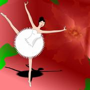 slim ballerina dancing on petal of beautiful red flower - stock illustration