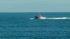 Pilot Boat Heading Into Port Stock Footage