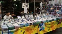 CDs street vendor Stock Footage