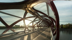 Timelapse of Peace Bridge, Calgary Stock Footage