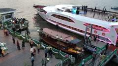 Big yacht in Bangkok downtown Stock Footage