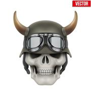 Human skulls with German Army helmet and horns - stock illustration
