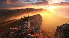 Sunrise in the mountains Ai-Petri. Alupka, Crimea, Russia. FULL HD Stock Footage