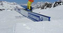Skier Freestyle Rail 4k Stock Footage