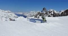 Snowboarder Freestyle Rails 4k Stock Footage