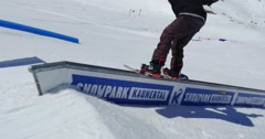 Snowboard Freestyle Rail 4k Stock Footage