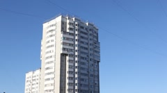 RUSSIA.MOSCOW-2012: Above view of the white residential building on a background Stock Footage