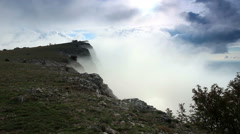 Movement of the clouds on the mountain Merdven-Kayasy. Crimea, Russia Stock Footage