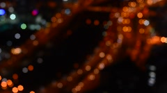 Blurry city traffic aerial view Stock Footage