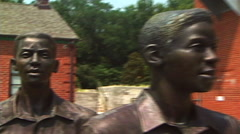 Green McAdoo Monument pan to girl Stock Footage