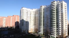 RUSSIA.MOSCOW-2012: Above view of the residential area. Stock Footage