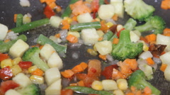 Mixed vegetables in a pan Stock Footage